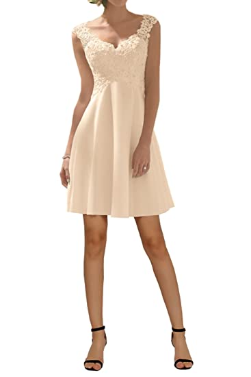DressyMe Womens Empire Prom Party Dress Lace Backless Drape-6-Champagne