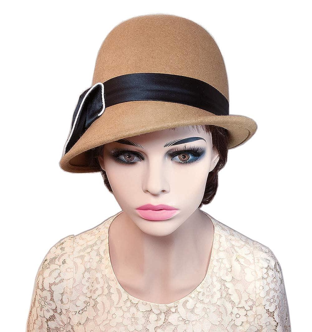 YSJOY Elegant Womens 100% Wool Blossom Flower Belt Bucket Hat Fisherman Hat