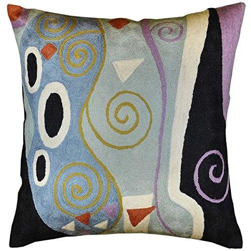 Kashmir Designs Klimt Cushion Cover Marine Hand Embroidered Wool 18