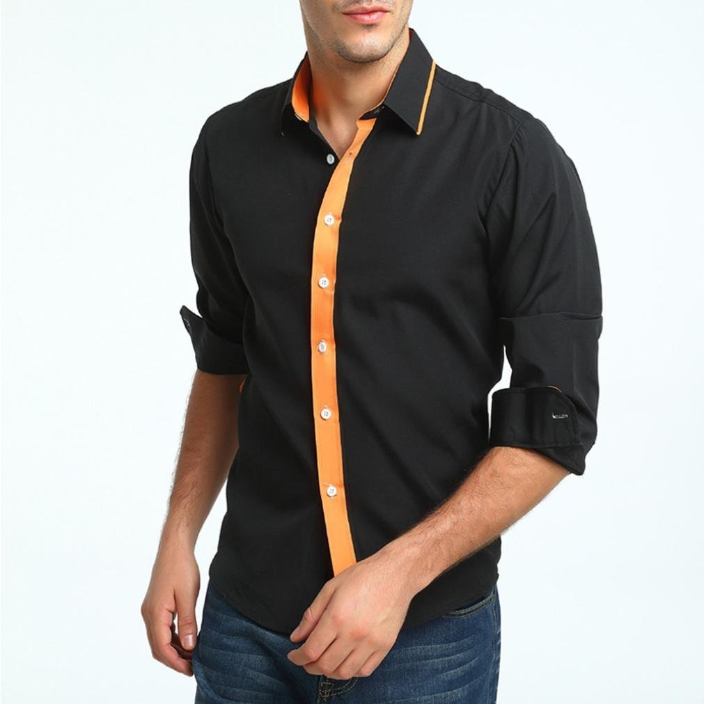 Men Business Dress Shirt Luxury Slim Fit Long Sleeve Casual Lapel Button Top (L, Black)