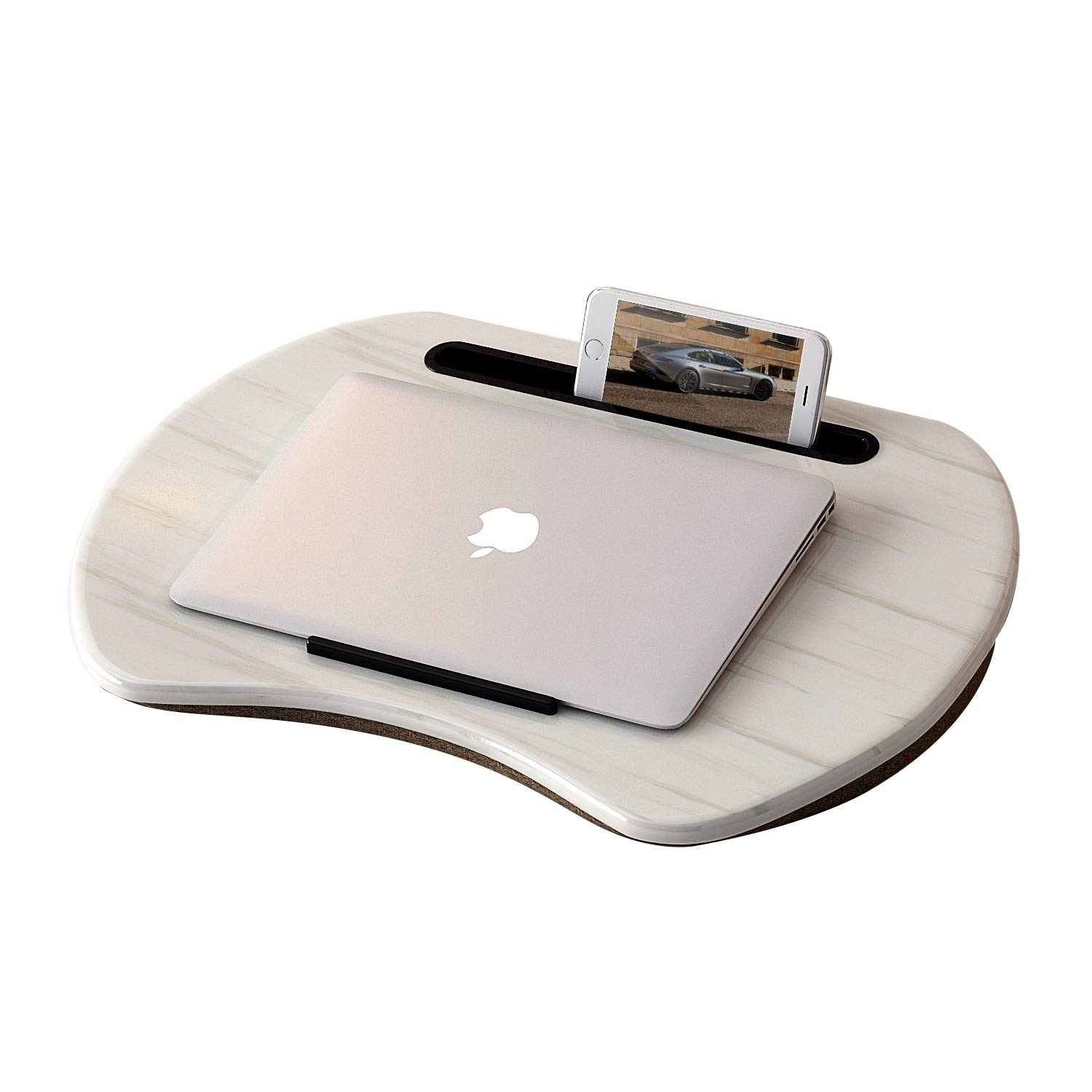 HOME BI Lap Desk for Laptop, Portable Laptop Table with Phone Tablet Holder, Fits up to 15'' Laptop and 9.7'' Tablet (White)