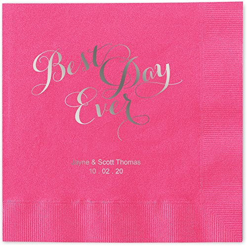 Best Day Ever Personalized Luncheon Dinner Napkins - Canopy Street - 100 Custom Printed Hot Pink Paper Napkins with choice of foil stamp