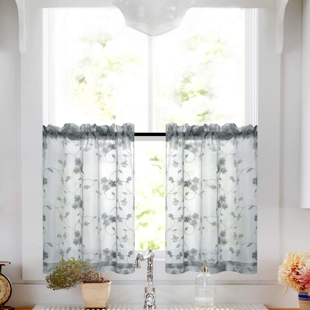 Tier Curtains 24 Inch Length Kitchen Cafe Floral Embroidered Sheer Window Drapes Grey Semi Sheers Voile Floral Curtain Rod Pocket For Bathroom 1 Pair