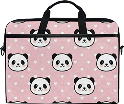 Linomo Computer Bag Cute Animal Panda Pattern Laptop Sleeve Case Briefcase Messenger Sleeve Laptop Shoulder Bag fits 13 Inch 14 Inch 14.5 Inch Laptop for Women Men Office Kids School