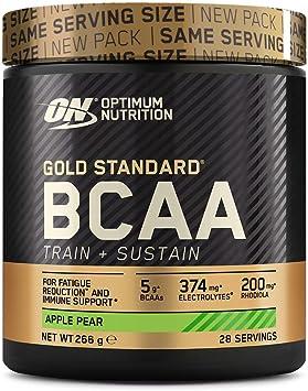 Optimum Nutrition ON Gold Standard BCAA Polvo, Suplementos Deportivos con Aminoacidos, Vitamina C, Zinc, Magnesio y Electrolitos, Manzana y Pera, 28 Porciones, 266g, Embalaje Puede Variar: Amazon.es: Salud y cuidado personal