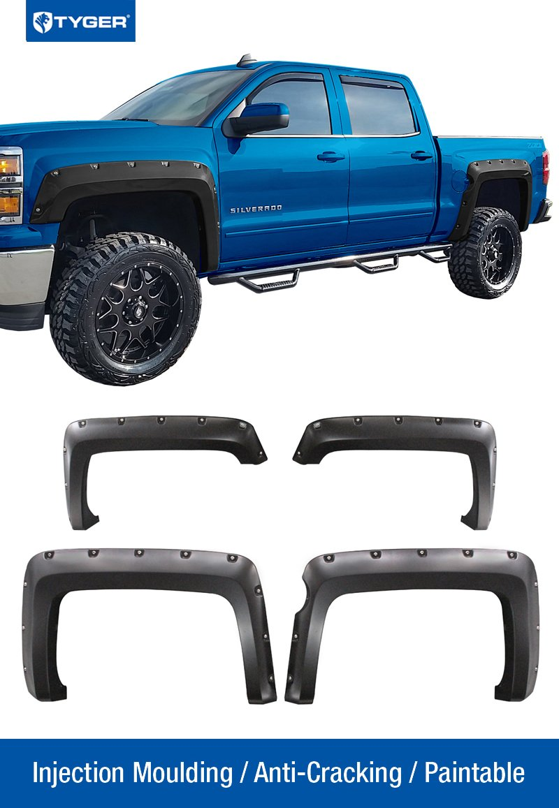 Tyger Auto TG-FF8C4118 For 2014-2017 Chevy Silverado (ONLY Fit Fleetside Models with 69.3'' Short Bed) | Paintable Smooth Matte Black Pocket Bolt-Riveted Style Fender Flare Set, 4 Piece by Tyger Auto