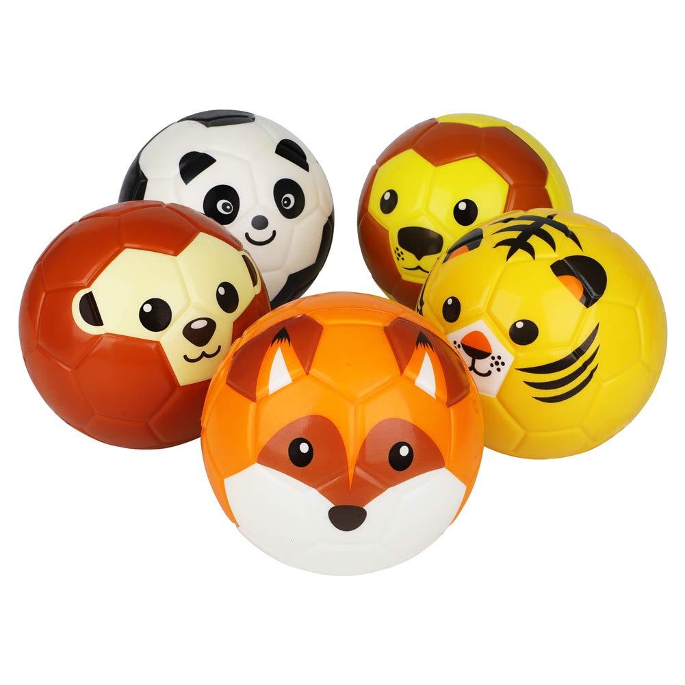 WEIER Soft Foam Indoor Outdoor No Pump Training Animal Without air Football Soccer Ball 5Pcs Ball Set(Fox,Tiget,Panda,Lion,Monkey) by WEIER