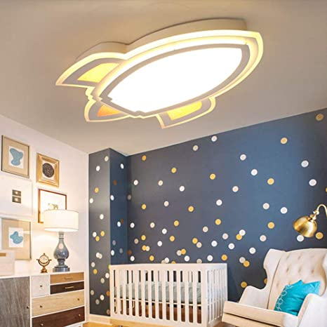 Litfad Simple Cartoon Rocket Dimmable Led Ceiling Light For Kids Bedroom Creative Deco Ceiling Lamp For Children S Room Amazon Com