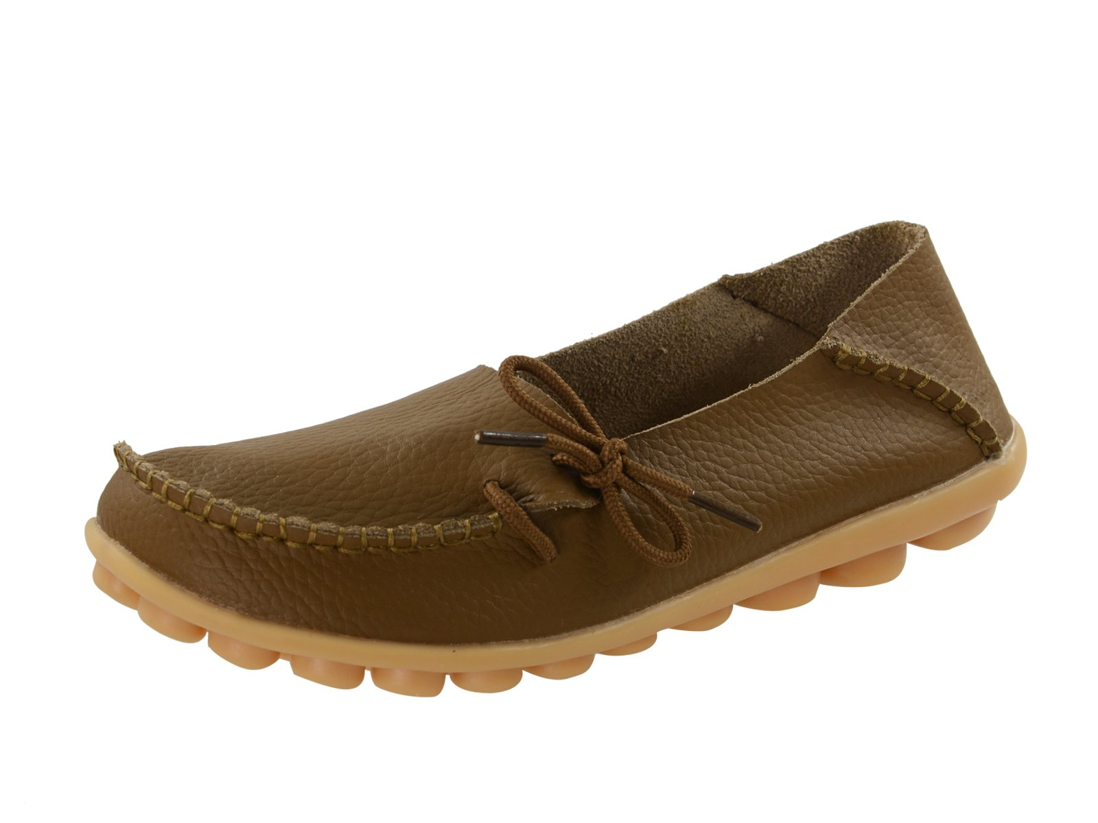 Century Star Women's Casual Cowhide Lace-Up Slip-On Driving Moccasin Loafer Flats Slippers Boat Shoes Camel 9 B(M) US