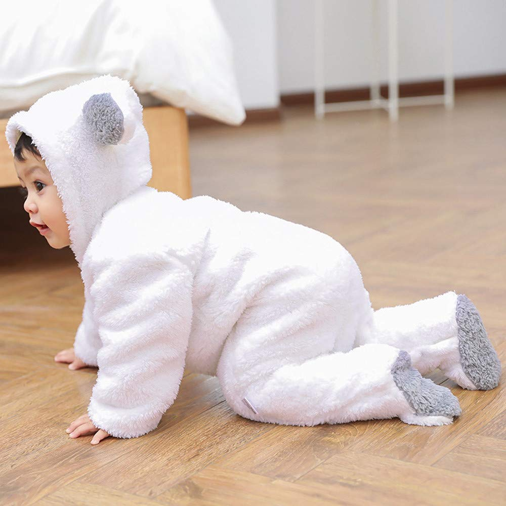 OCEAN-STORE Infant Baby Girls Boys 0-12 Months Long Sleeve Fluffy Hooded Jumpsuit Romper Outfits Clothes