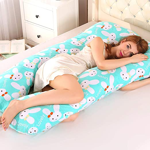Pink 70 * 145cm//27.5 * 57in Large U-Shape Full Body Pillow 100/% Cotton with Replaceable and Washable Velvet Cover for Sleeping and Feeding Pregnancy Pillow