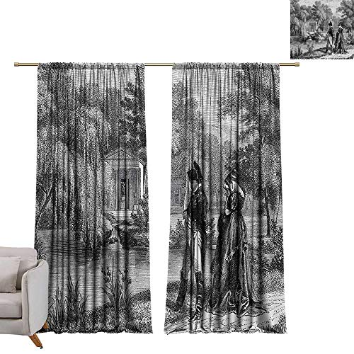 Anzhutwelve Vintage,Curtain Living Room Historical French Revolution Sketch with Napoleon and Woman in Garden Artwork W72 x L84 Printed Window Curtains
