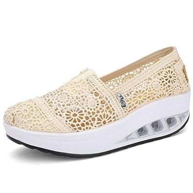 c2f3e57c21661 Solshine Women's Platform Wedge Heel Rocker Sole Slip On Trainers ...