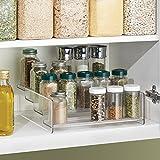 mDesign Kitchen Cabinet Spice Organizer Rack for Herbs, Salt, Pepper, Cinnamon, Ginger, Garlic - 4-Tier, Clear