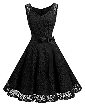Leader of the Beauty Floral Lace Women Bridesmaid Dress Short Prom Dress V Neck Black UK
