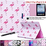 iPad 2/3/4 Case, Newshine Magnetic Folio Smart Stand Cover PU Leather Wallet Case for Apple iPad 4th Generation Retina Display & iPad 3rd Gen & iPad 2nd Gen (Auto Wake/Sleep) - Red Flamingo