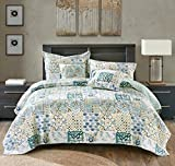 Tache Home Fashion Watercolor Spring Time Patchwork Quilted Coverlet Bedspread Set - Bright Vibrant Multi Colorful Blue White Floral Print - Twin - 2-Pieces