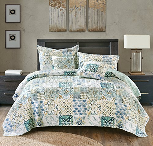 Tache Home Fashion Watercolor Spring Time Patchwork Quilted