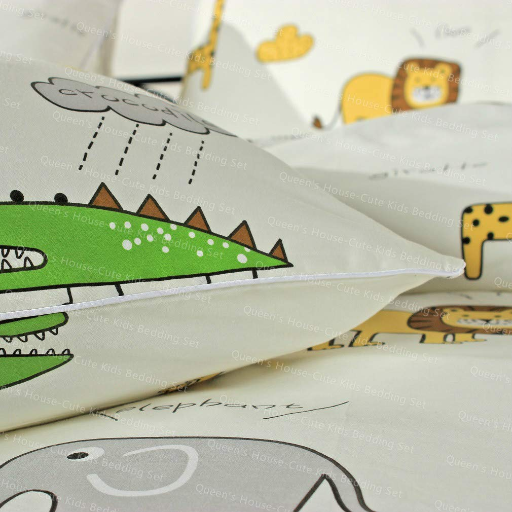 Queens House 3Pcs Cute Cartoon Airplane Printed 100/% Cotton Bedding Duvet Cover Set Cotton Comforter Cover Set for Kids,Girls Boys-B,Full//Queen