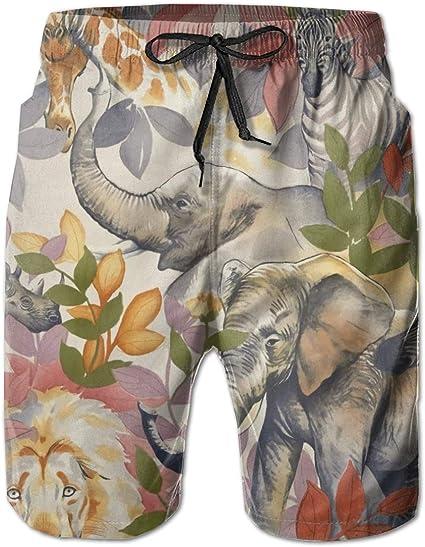 Cute Animal in Jungle Pattern Mens Boardshorts Swim Trunks Beach Athletic Shorts