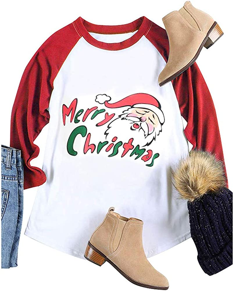 Dunacifa Christmas Womens Long Sleeve T Shirt Patchwork Deer Print Round Neck Blouse Loose Tops Pullover