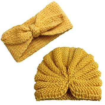 Amazon.com  2Pcs Infant Baby Knitted Beanie Cap Bowknot Headband ... a1b950c92e7e
