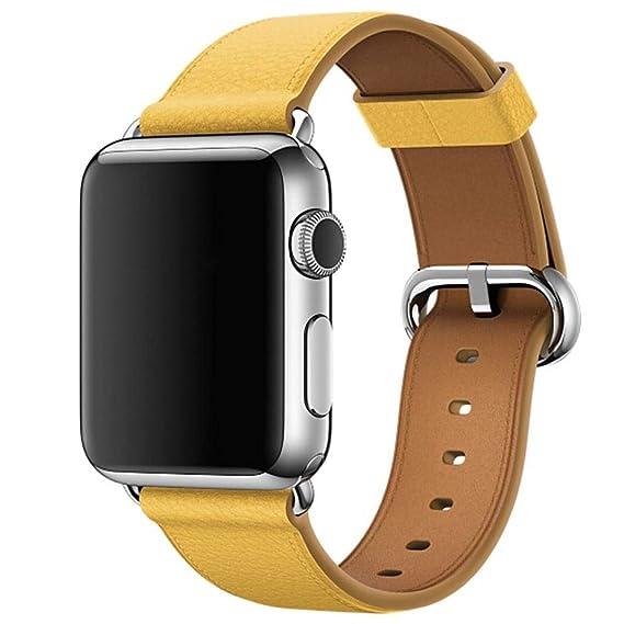 Bestow Apple Watch Series 3 42MM Correa de Hebilla Clš¢sica Single Tour Correa de Cuero Pulsera Correa de Reloj(Amarillo): Amazon.es: Ropa y accesorios