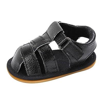 Juleya Nouveau-né Bébés garçons Chaussures Premier marche antidérapants cuir souple Sandales enfant en bas âge Toe noir 6-12M