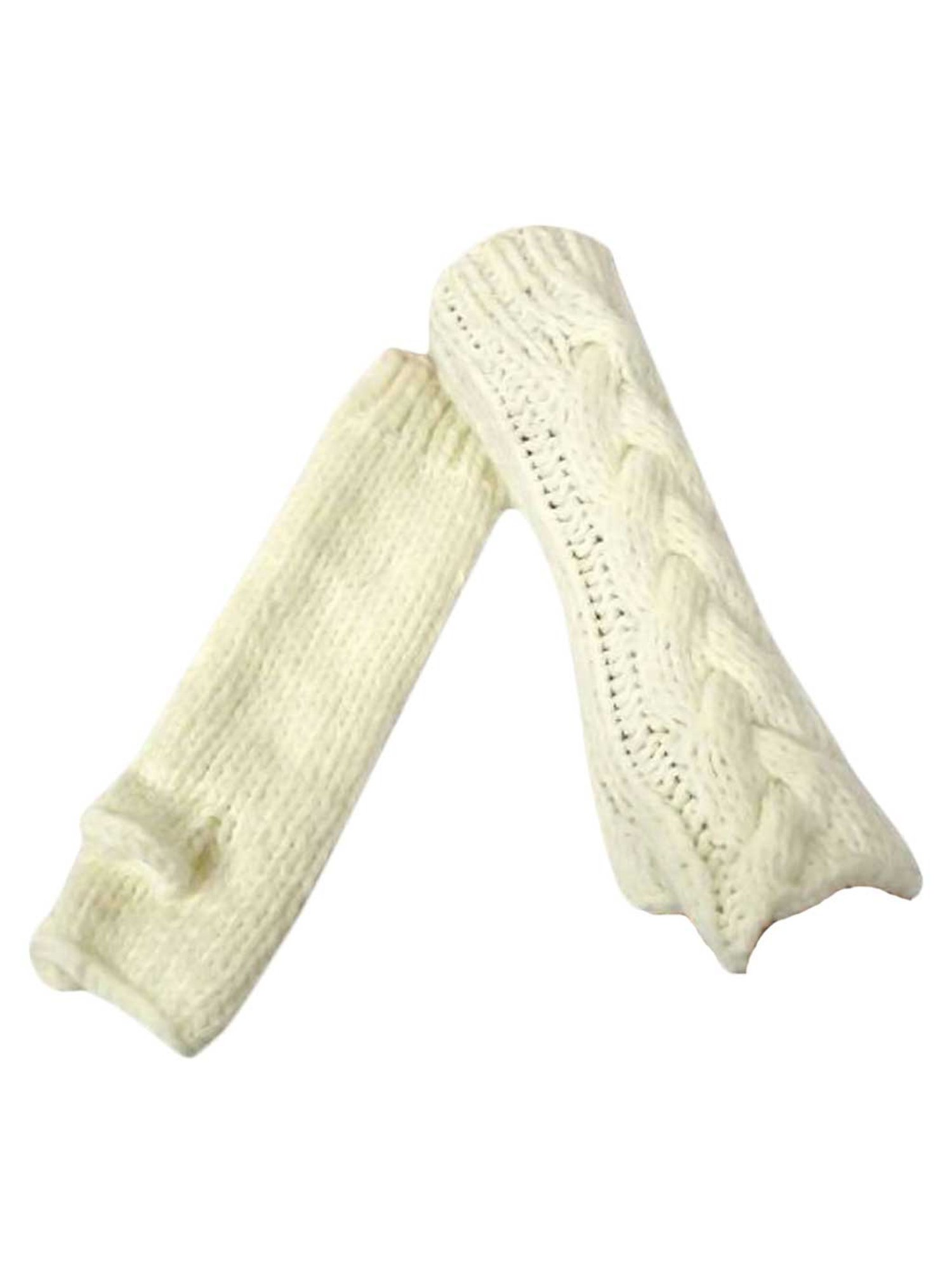 Ivory Long Thick Cable Knit Arm Warmer Gloves