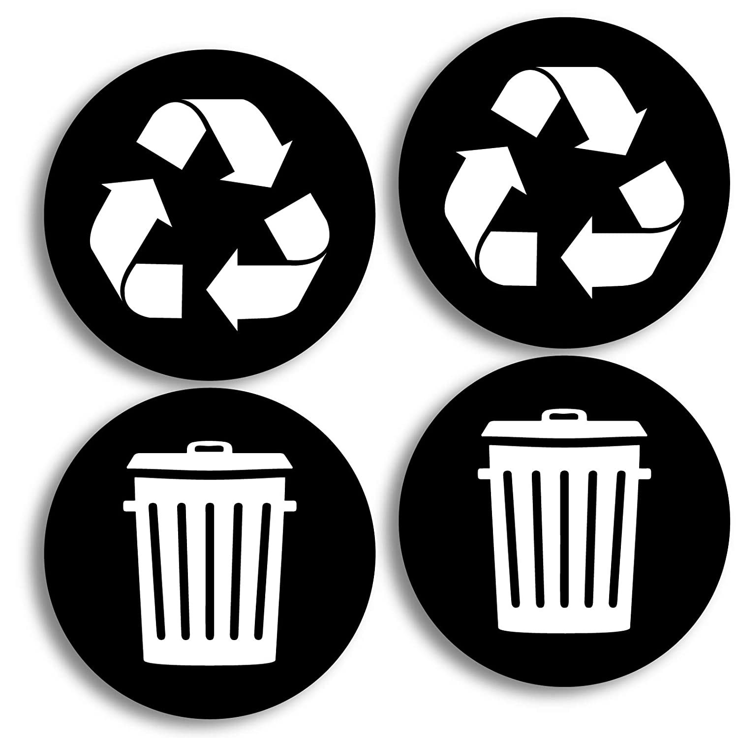 Recycle and trash logo stickers 4 pack 4in x 4in organize trash for metal or plastic garbage cans containers and bins indoor outdoor home