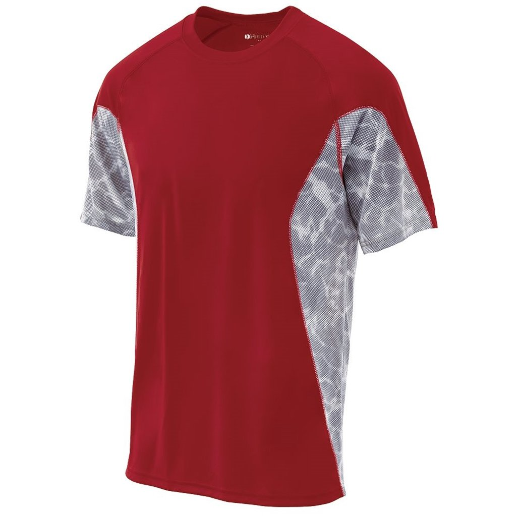 Holloway Youth Dry Tidal Shirt Semi-Fitted (Small, Scarlet/White Print) by Holloway