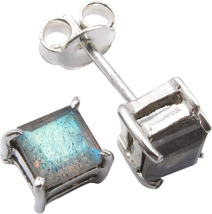 Style 1 8mm Studs. Made to Order  Labradorite Gemstone Stainless Steel Stud Earrings