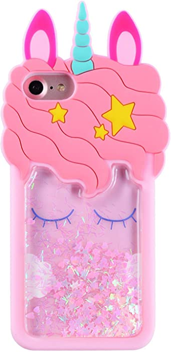 FunTeens Bling Unicorn Case for iPhone 4/ iPhone 4S/ 4G,3D Cartoon Animal Design Cute Soft Silicone Quicksand Glitter Stars Cover,Kawaii Fashion Cool Skin for Kids Child Teens Girls(iPhone 4)