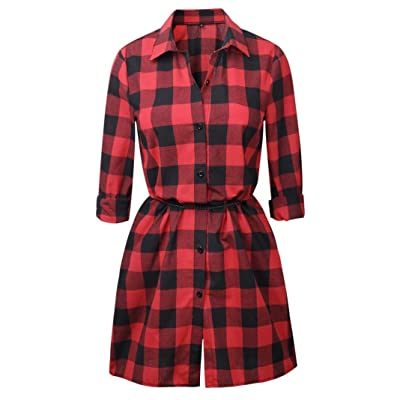Peanutcool Womens Cotton+Polyester Casual Check Mini Dress Ladies Long Sleeve Plaid Pattern Dress