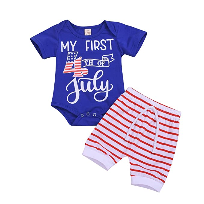 efdd2c6da My First 4th of July Baby Boy Outfits American Flag Romper Star Straps  Pants Independence Day