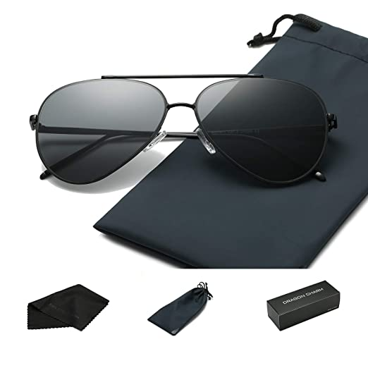 82f3dca9cd Amazon.com  DRAGON CHARM Unisex Classic Aviator Flat Mirrored Sunglasse Metal  Frame UV400 Black Frame Dark Grey Lens  Clothing