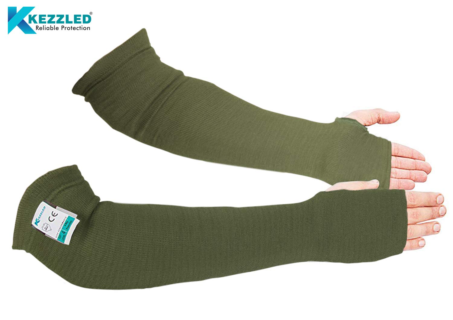Kevlar Sleeves- Heat, Scratch & Cut Resistant Arm Sleeves with Thumb Holes- Arm Safety Sleeves- Long Arm Protectors- Flexible, Lightweight, Washable- 18 Inches, Sage Green, 1 Pair
