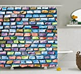 shower tile design ideas Ambesonne Geometric Shower Curtain, Colorful Mosaic Tiles Pattern Brick Wall Design with Grunge Effect Worn Out Look, Fabric Bathroom Decor Set with Hooks, 70 Inches, Multicolor