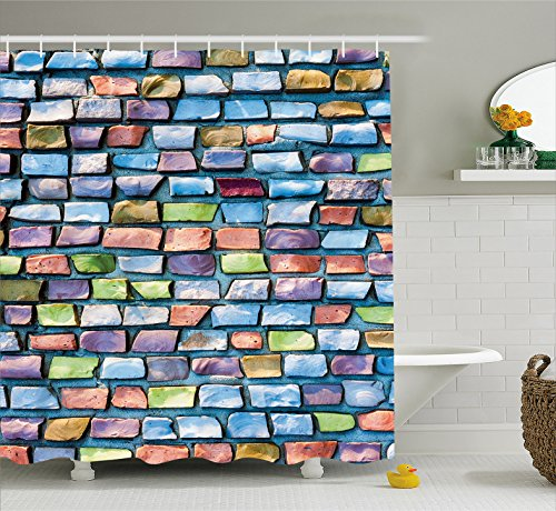 Ambesonne Geometric Shower Curtain, Colorful Mosaic Tiles Pattern Brick Wall Design with Grunge Effect Worn Out Look, Fabric Bathroom Decor Set with Hooks, 70 Inches, Multicolor