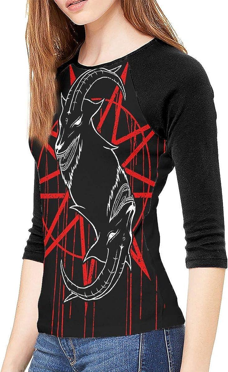 MaMing Slipknot Woman Long Sleeve T-Shirt Black Classic Crew Neck Polyester Raglan Sleeve Tee
