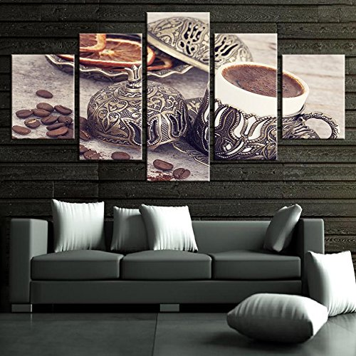 Picture Frame Coffee ([Medium] Premium Quality Canvas Printed Wall Art Poster 5 Pieces / 5 Pannel Wall Decor Coffee Collection - Vintage Painting, Home Decor Pictures - With Wooden Frame)