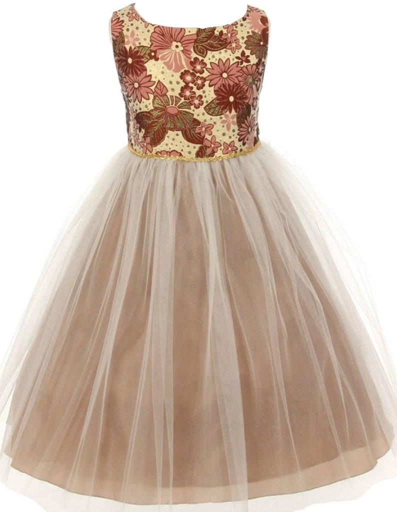 AkiDress Multi Brocade Tulle Flower Girl Skirt for Little Girl Brown 4