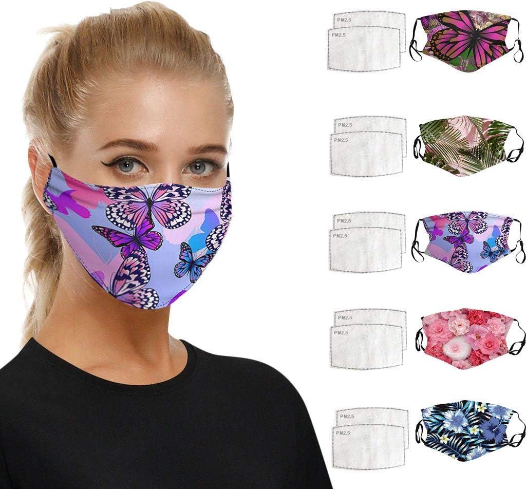 𝐌𝐚𝐬𝐜𝐚𝐫𝐢𝐥𝐥𝐚 de algodón de 5Piezas Lavable y Reutilizable Tela cómoda Tela a Prueba de Polvo Resistente al Viento Protección Exterior con 10 filtros PM2.5