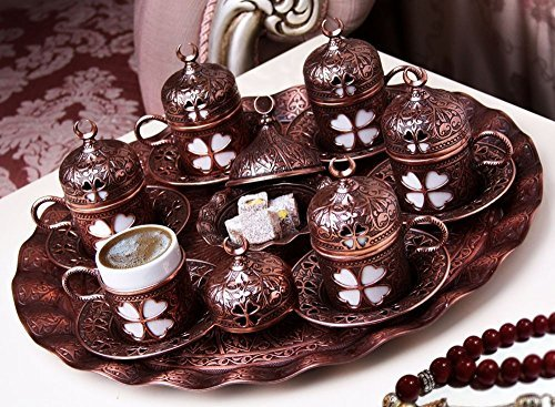 27 Pcs Ottoman Turkish Greek Arabic Coffee Espresso Serving Cup Saucer Facility Set