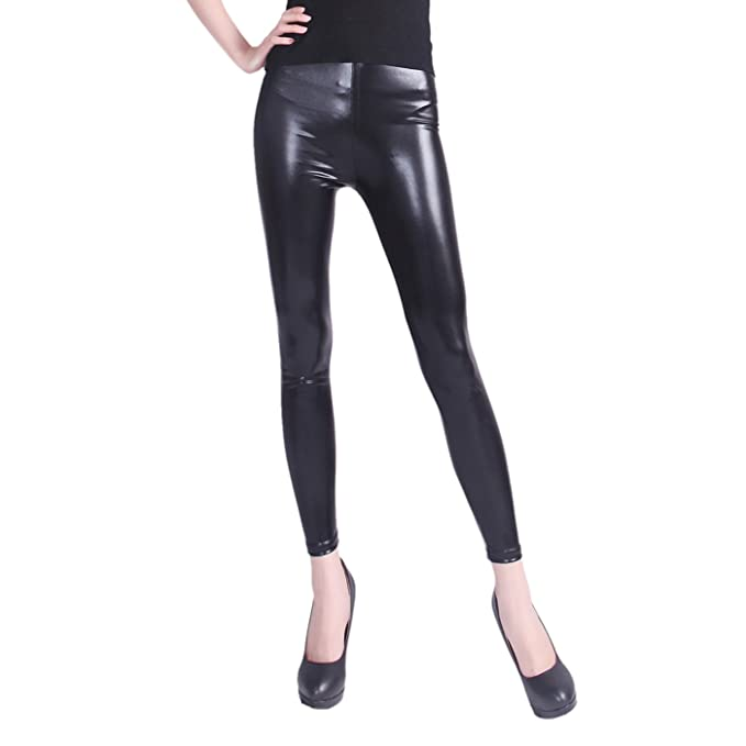 bd8fb11fa75 HDE Women s Plus Size Clubwear Shiny Metallic Leggings Liquid Wet Look Pants  (Black
