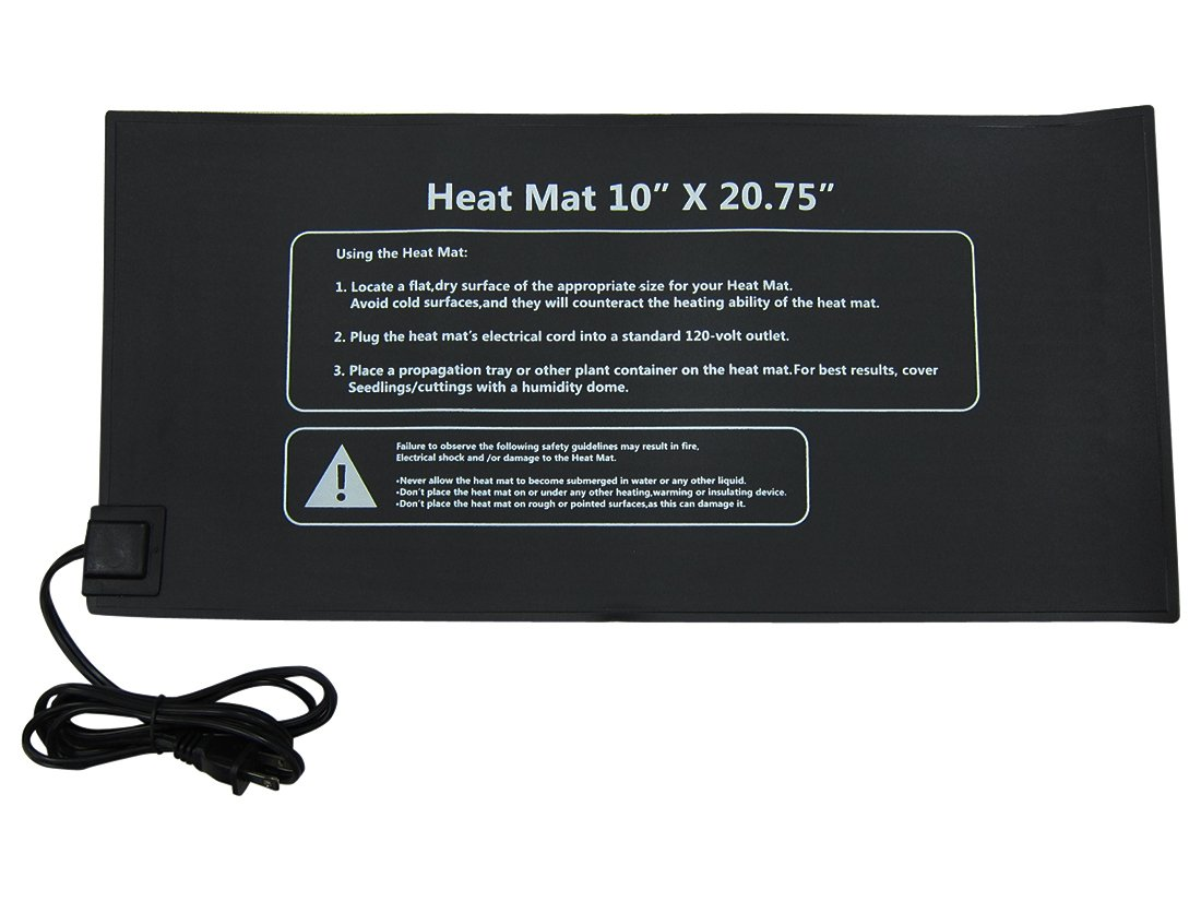 Yield Lab Seed and Clone Heat Mat – 20.75 x 10 Inch – Hydroponic, Aeroponic, Horticulture Growing Equipment (20.75 x 10 Inch Heat Mat)