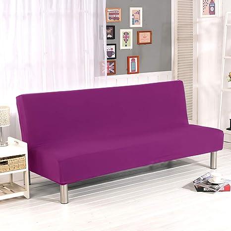 YQ WHJB Poliester Sin Brazos La Cubierta del sofá,Stretch Elástico Funda de sofá,Antideslizante Color sólido Protector de Muebles Sofá Acolchado-E L