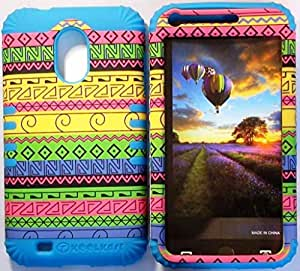 Cellphone Trendz (TM) Hybrid High Impact Bumper Case Yellow Green Aztec Tribal / Blue Silicone for Samsung Galaxy S2 EPIC 4G TOUCH D710 R760 for SPRINT/BOOST MOBILE/VIRGIN MOBILE/US CELLULAR