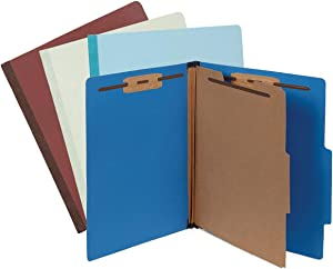 Blue Summit Supplies 12 Pressboard Classification Folders 2 Dividers, Letter Size Office Folders, 2'' Tyvek Expansions with Fasteners, 6 Part Classification Folder in Assorted Colors, 12 Pack