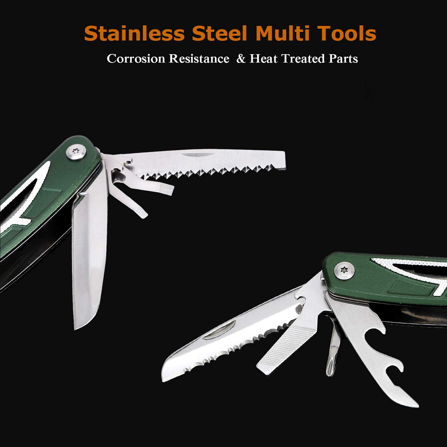 Multitool Knife with Safety Lock, Portable Multifunctional Survival Tools Multipurpose Pocket Pliers with Screwdriver, Folding Saw, Serrated Knife, Wire Cutter for Camping, Hunting, Fishing